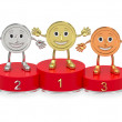 Cartoon medals on red podium — Stock Photo
