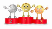Cartoon medals on red podium (front view) — Stock Photo