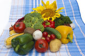 Sttill life on tablecloth — Stock Photo