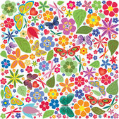 Flowers and butterflies colored pattern — Stock Vector