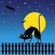Wild black silhouette cat — Stock Vector #39865777