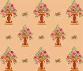 Vase pink flowers seamless (wallpaper) — Vector de stock