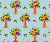 Vase color fruits seamless (wallpaper) — Stock Vector