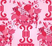 Rosa vaso frutta senza soluzione di continuità (carta da parati) — Vettoriale Stock