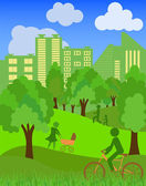 Environmentally symbols of urban lifestyles — Stock Vector