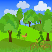 Nonurbanscenics, green field and trees, cloudscape — Stock Vector