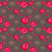 花卉的玫瑰背景,无缝 — 图库矢量图片