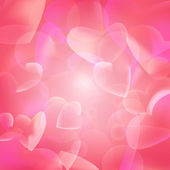 Pink hearts bubbles abstract background — Stock Vector