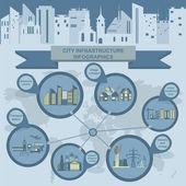 Uppsättning element infrastruktur staden, vektor infographics — Stockvektor