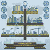 Set of elements infrastructure city, vector infographics — Vettoriale Stock