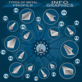 Types of metal profile, info graphics — Stock Vector