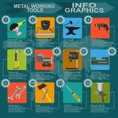 Set of metal working tools Infographics — Stock Vector