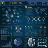 Wynajem samochodów, naprawy Infografika — Wektor stockowy