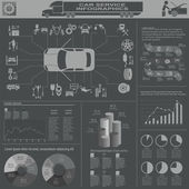 Araba Servisi, tamir infographics — Stok Vektör