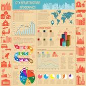 Conjunto de la ciudad de elementos infraestructura, vector infografía — Vector de stock