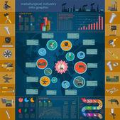 Satz der elemente und instrumente für metallurgische industrie für die erstellung von — Stockvektor