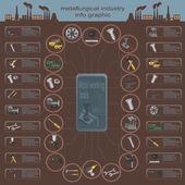 Insieme di elementi e strumenti dell'industria metallurgica per la creazione di — Vettoriale Stock