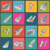 Set of metal profiles icons — Stock Vector