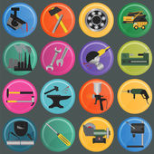 Set of metal working tools icons — Stock Vector