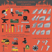 Set of metallurgy icons, metal working tools — Stockvector