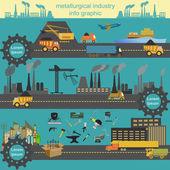 Set of metallurgy icons, metal working tools — Vettoriale Stock