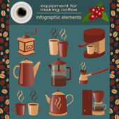 Equipment for making coffee, set infographics elements — Vector de stock
