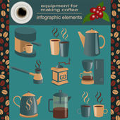 Equipment for making coffee, set infographics elements — Stock Vector