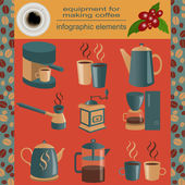 Equipment for making coffee, set infographics elements — Wektor stockowy