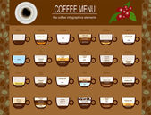 The coffee menu infographics, set elements for creating your own — Stock Vector