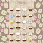 The coffee menu infographics, set elements for creating your own — Stok Vektör