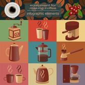 Equipment for making coffee, set infographics elements — Stok Vektör