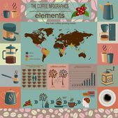 The coffee infographics, set elements for creating your own info — Stok Vektör