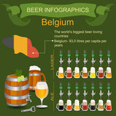 Beer infographics. The world's biggest beer loving country - Bel — Stock Vector