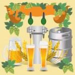 Постер, плакат: Glasses beer with wheat and hops
