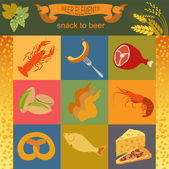 Beer snacks, set icons for creating your infographics — Stock Vector