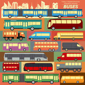 Public transportation, buses. Set elements infographics — Stock Vector
