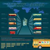 Public transportation ingographics. Buses. — Stock Vector