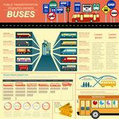 Public transportation ingographics. Buses — Stock Vector