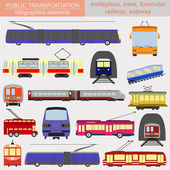 Public transportation infographics. Tram, trolleybus,subway — Vettoriale Stock