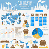 Fuel industry infographic, set elements for creating your own in — Stock Vector