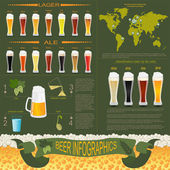 Beer infographics, set elements, for creating your own infograph — Stock Vector