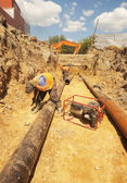 Laying of new sewer pipes — Stock Photo
