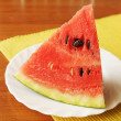 Large piece of ripe watermelon on the plate — Stock Photo