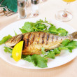 Fried fish Doradwith lemon and greenery — Stock Photo #13543392