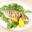 Fried fish Dorada with lemon and greenery — Stock Photo #13543405