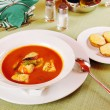 Bouillabaisse - Tomato soup with seafoods — Stock Photo #13639529