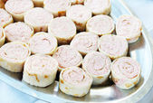 Rolls with stuffing made of butter and seafoods — Stock Photo