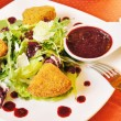 Fried cheese Camembert with cranberry sauce — Lizenzfreies Foto