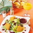 Fried cheese Camembert with cranberry sauce — Stok fotoğraf