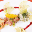 Trio of Tartarus - meal of raw fish — Stock Photo